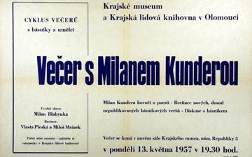 Plakát k večeru Kunderových veršů, připravený podle ještě nenecenzurovaného rukopisu sbírky.